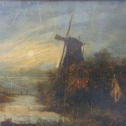 Peinture antique néerlandaise attribuée à Isaak Ouwater
