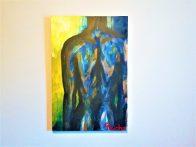 «Espalda de hombre» sur fond bleu