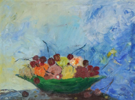 Alexander Kwartler oil painting. Front view, fruit bowl, still life